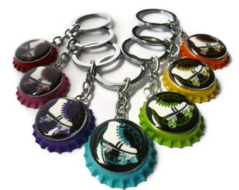 Retro Roller Bottle Cap Key Ring, Roller Derby Key Ring, Roller Disco Keyring, Skater Gift