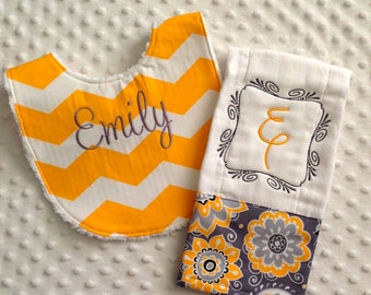 Baby Girl Personalized 2 Piece Gift Set  - Bib and Burp Cloth-Yellow Chevron