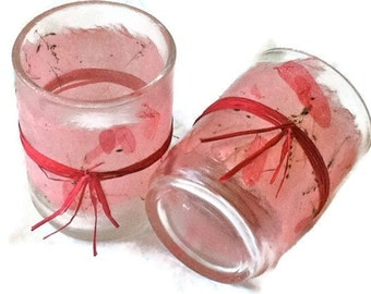 tea light holders pastel pink wrapped pink raffia