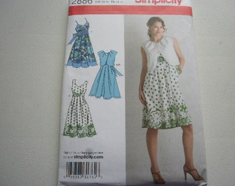 Pattern Ladies Dress and Bolero Sizes 6 to 14 Simplicity 2886