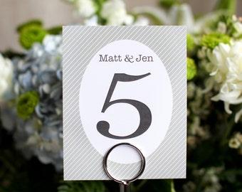 Wedding Table Numbers Stripes Sign Custom Customize Vintage Simple Elegant Bride Groom Names