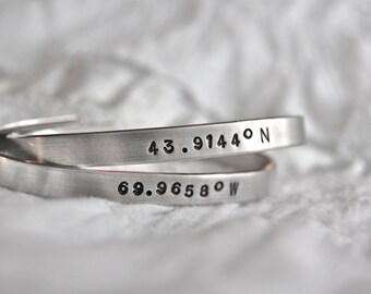 Longitude and Latitude cuff custom metal bracelet, hand stamped