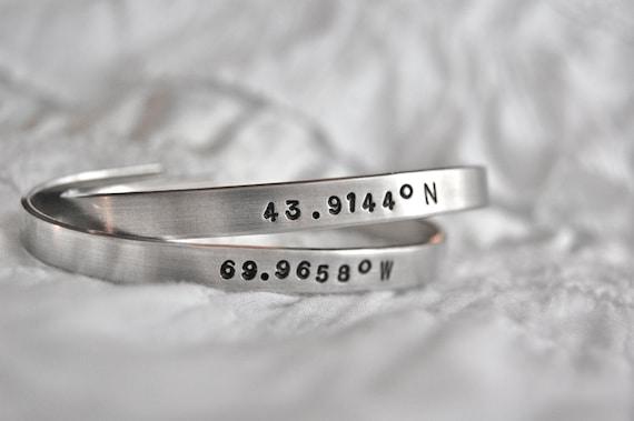 items similar to longitude and latitude cuff custom metal