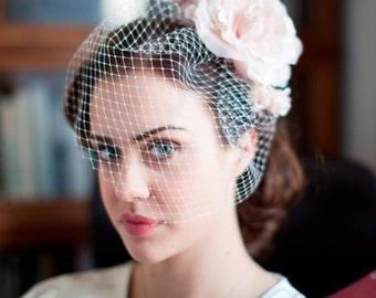 Birdcage Veil and Silk Flower Fascinator - Vintage Bride - 1940s Bridal Veil - Pink Hair flower