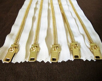 14inch - Cream Metal Zipper - Gold Teeth - 5pcs