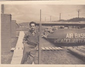 Soldier at Air Base Headquarters - Vintage Photograph, Vernacular, Ephemera, Military Photo (SS)