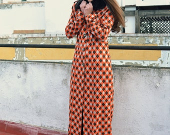 80's Checked Orange Long Coat with false fur collar, Blanco label