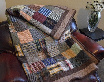 Quilt  UpCycle RePurpose ReUse GREEN Men's Plaid Dress Shirt TWIN Warm Colors Quilt Made to Order