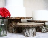 3 Tiered Large, Med, and Small Wood or Wooden Cake Stands for Rustic Wedding or Decor