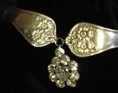 Silver Rose - vintage silver spoon and rhinestone flower bracelet