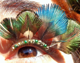 Peacock Feather Eyelash Jewelry