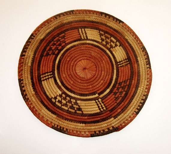 African Baskets With Lids: Vintage Woven Basket Lid African Disk Tray Cover