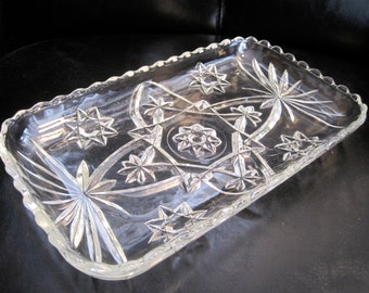 Vintage Cut Glass Serving Dish