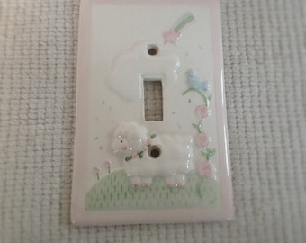 Adorable Lamb Light Switch Plate with Blue Bird, Pink Flowers, Puffy Cloud, and Shooting Star