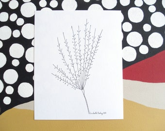 Weed In Winter Drawing Black and White Print on Acid Free Cardstock 6 1/4 x 5 1/4