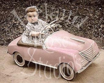 Carol and her Pink Peddle Car-Vintage Photo-Digital Image Download