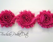 "Shabby Chiffon Rose Trim - 1 yard -- 2 1/2"" wide - Fuchsia Polka Dots"