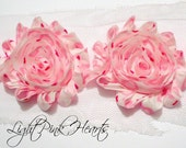 "Shabby Chiffon Rose Trim - 1 yard -- 2 1/2"" wide - Light Pink Hearts"