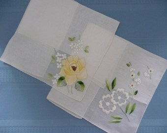 REDUCED - Two Ladies Fine Cotton Embroidered Handkerchiefs