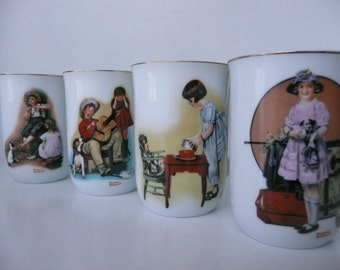 CLEARANCE - Set of Four Norman Rockwell Coffee Mugs of Children Playing