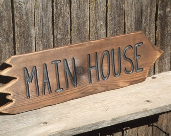 Wood pointing  sign - Custom - hand carved -- rustic un painted -- reclaimed western cedar