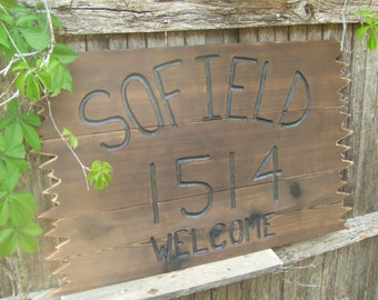 LARGE CUSTOM wood  sign -- hand carved -- rustic un painted -- your name or numbers on reclaimed western cedar