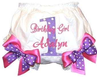 Personalized Hot Pink & Purple 1st, 2nd, 3rd, 4th Birthday Baby Girl  Bloomers, Diaper Cover, Panties