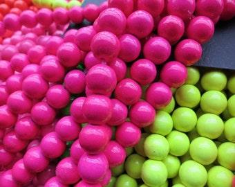 3 str -Bright Neon Fuchsia Howlite 10mm Round beads-- 40pcs/Strand