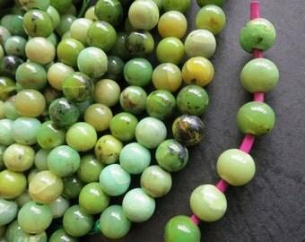 2mm Big Hole -Green Opal 8mm round beads- 50pcs/Strand