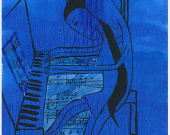 ACEO art print of an original collage (piano lovers), signed at the back