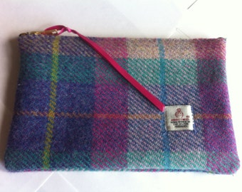 Harris tweed purse cosmetic bag make up bag, made in Scotland women ladies girls gift Scottish