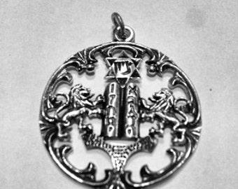 Vintage Pendant TEN Commanadments Star of David Lions Zion Israel Bible