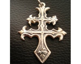 Cross of Lorraine Magnum Pi Team Ring Pendant - Sterling Silver 925