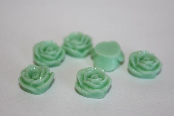 10 SMALL ROSE Cabochons - 12mm - Sea Foam Green Color