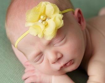Yellow baby headband, baby headband, mini flower headband, newborn headband, yellow flower headband with rhinestones and pearls
