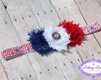 Baby headband, 4th of July baby headband, Patriotic baby headband, red white and blue headband
