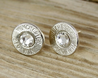 Custom Earrings / Bullet Earrings / Winchester 270 Nickel Bullet Stud Earrings WIN-270-N-SEAR / Birthstone Earrings / Bullet Stud Earrings