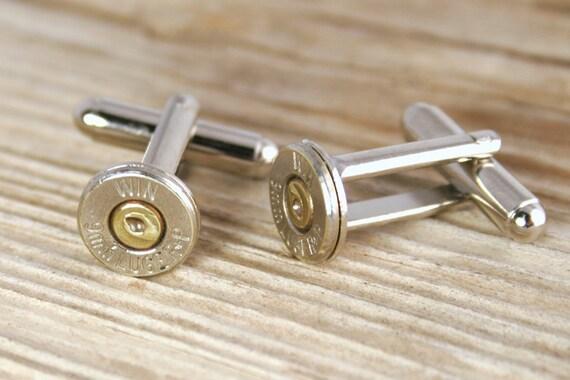 Bullet Cufflinks / 9mm Nickel Bullet Cufflinks WIN-9MM-NB-CL / Winchester® Bullet Cufflinks / Wedding Cufflinks / Bridal Cufflinks / Custom