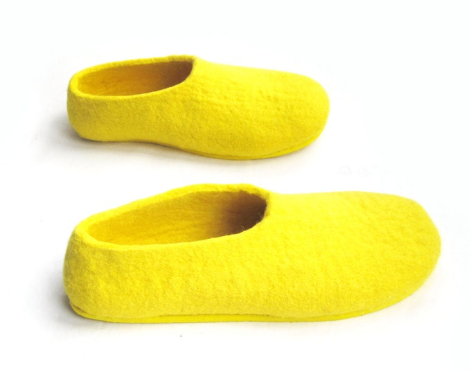 Mens House Felted Slippers Gold Yellow Felt Shoes, Loafers Rubber Soles 7 Color Variations, Indoors Outdoors Size US 6.5-15, New Daddy Gifts