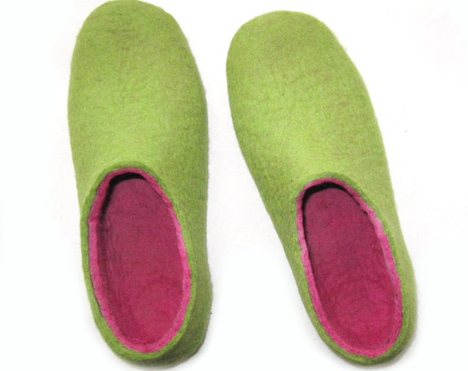 Pink and Green Wool Slippers - Felted Shoes - Minimalist Shoes - House Shoes - Mix and Match - Rubber Soles - Womens Shoes