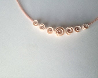 minimal romantic chic asymetrical polymer clay roses-flower necklace nO.207 ''white roses between pink corals''