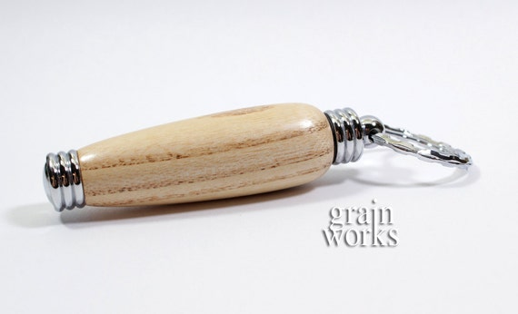 Wood Secret Compartment Key Chain - American White Ash with Chrome Accents (Gift Ready)