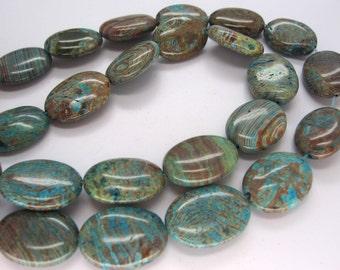 Beautiful Natural Blue Sky Jasper Smooth Puffed Oval Beads 20x15mm