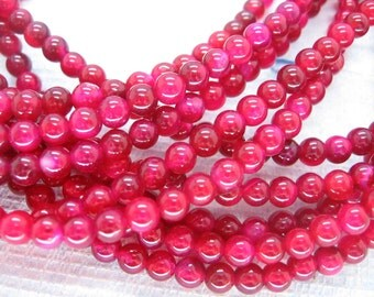 Beautiful Rose Red Agate Round Smooth Gemstone Beads 4mm
