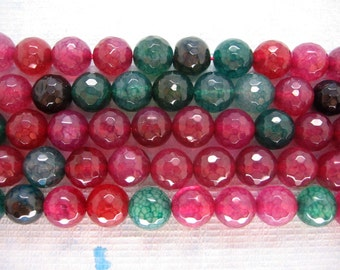 Beautiful Red Green Agate Faceted Round Beads 10mm - 15 Inch Strand