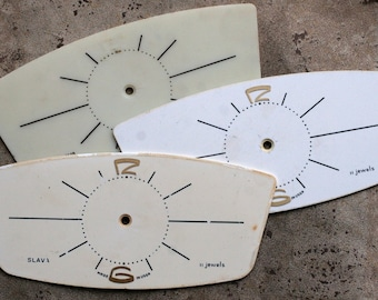 Vintage Soviet Alarm Clock Faces from 1980's -- set of 3 -- D3