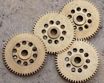 Vintage clock brass gears -- set of 4 -- D17