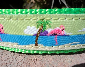 """Dog Collar 1"""" wide Quick Release or Martingale style Flamingo Under Palms - see info withing"""