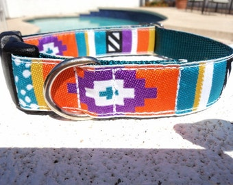 "Sale Dog Collar Tribal 1"" width adjustable Side Release buckle - no martingale limited ribbon"