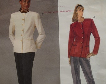 90s Ralph Lauren Military Jacket Pattern, Lined, Welt Pockets, Straight Pants, Vogue American Designer No. 2543 Size 8 10 12